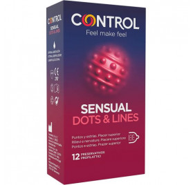 CONTROL PRESERVATIVOS SENSUAL DOTS LINES 12 UDS